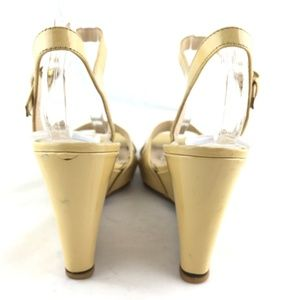Prada Shoes - Wedge sandals ankle strap patent leather yellow 38